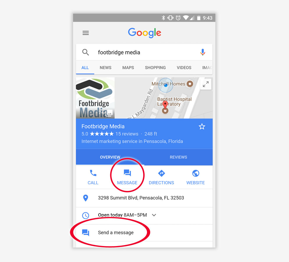 how to get customers to message on google
